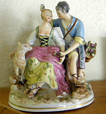 1928 Exquiste Courting Scene Figurine Japan Old Red Mark Extra Fine Detail Rare