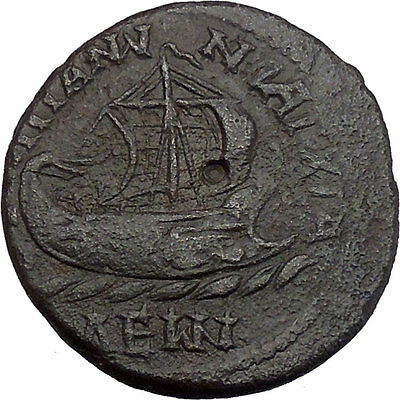 GORDIAN and Tranquillina III, Anchialos, 238-244 AD. Bronze. Galley.Very Rare