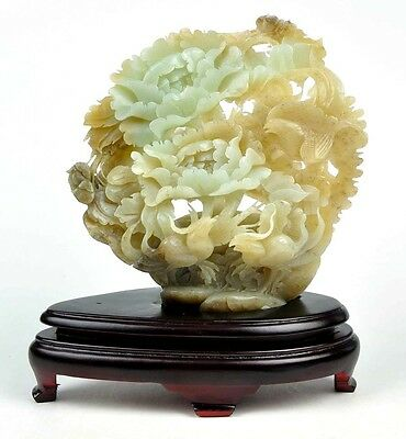 Natural Hetian Nephrite Jade Flower & Bird Statue Sculpture Carving w/certificat