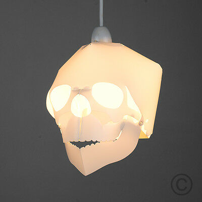 Contemporary White 3D Skull Ceiling Pendant Light Shade Gothic Bedroom Lighting