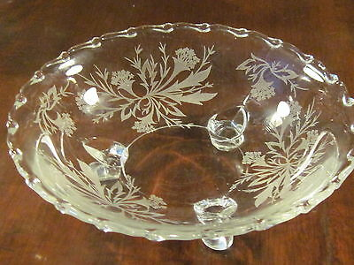 Fostoria etched pattern 3 footed bowl