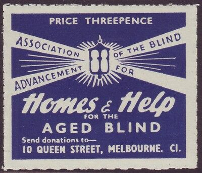 "3d CINDERELLA LABEL ""HOMES AND HELP FOR THE AGED BLIND"" MINT UNHINGED (A6140)"
