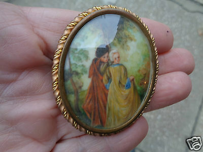 Antique Victorian Hand Painted Miniature Artist Signed French Couple Pin Brooch