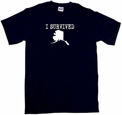 I Survived Alaska Silhouette Kids Tee Shirt Boys Girls Unisex 2T-XL