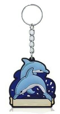 Blue Dolphin Rubber Keyring Keychain Souvenir Gift Cute Novelty Pair of Dolphins