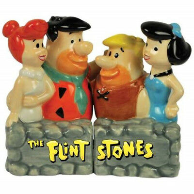 The Flintstones and the Rubbles Ceramic Salt and Pepper Shakers Set, NEW