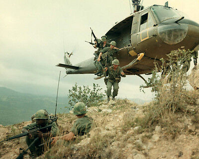 Us Soldiers And Huey Helicopter Vietnam War Large Photo