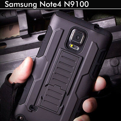 TPU Case Cover For Samsung Galaxy Note 4 Heavy Duty Shockproof Kickstand Armor