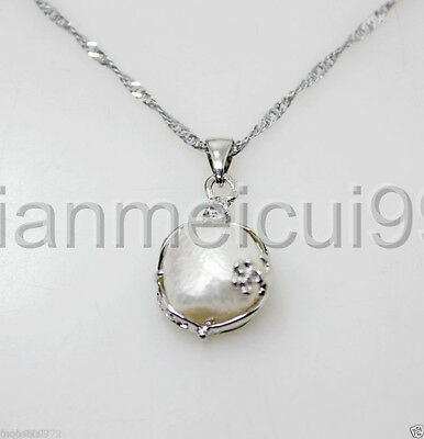 Genuine Huge 11-12mm White Cultured Freshwater Baroque Pearl Pendant Necklace