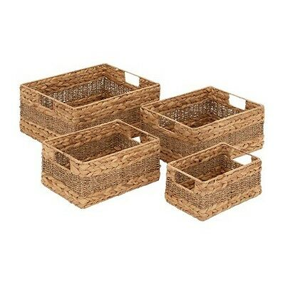 "Deco 79 48969 Seagrass Basket (Set of 4) 16""/14""/12""/10"" NEW"