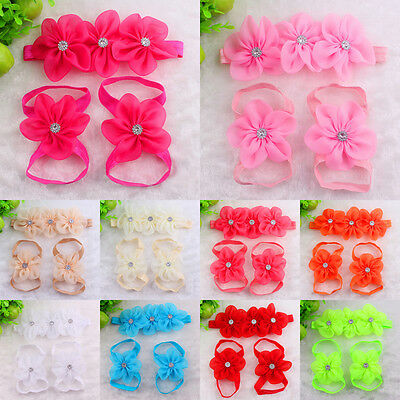 Newborn Girl Baby Infant Headband Foot Flower Elastic Hair Band Sets Accessories