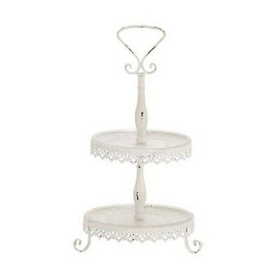 """Deco 79 66043  Metal Glass 2 Tier Tray 11 by 20"""" NEW"""