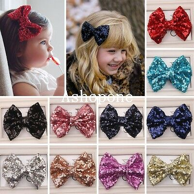 Sweet Girls Kids Baby Sparkling Bling Sequin Bow Bowknot Hair Clip