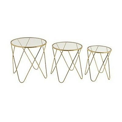"""Metal Glass Accent Table Set Of 3 In 18"""" 20"""" 22""""H 65491 New"""