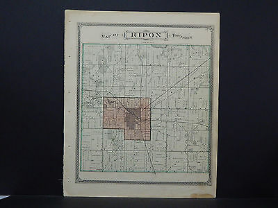 Wisconsin Fond du Lac County Map 1874 Ripon Township w/ Engravings L21#68
