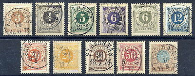 SWEDEN 1872-77 Ring Type definitive set perforated 14  used