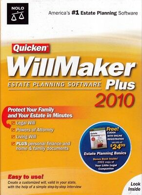 Quicken Willmaker 2010 PLUS (Estate Software) with BONUS Book FREE US SHIPPING