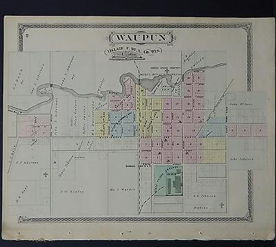 Wisconsin, Fond du Lac County Map 1874 Village of Waupun w/ Engravings L21#80