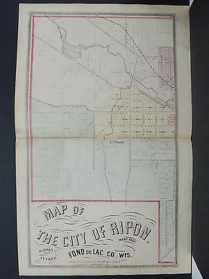 Wisconsin, Fond du Lac County Map 1874 City of Ripon 2-Pages L21#86