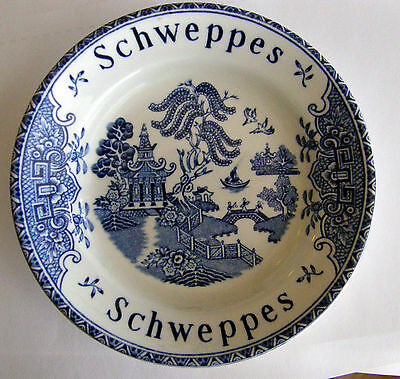 Vintage Schweppes Porcelain Blue Willow Pattern Tip Tray/dish So Nice Look