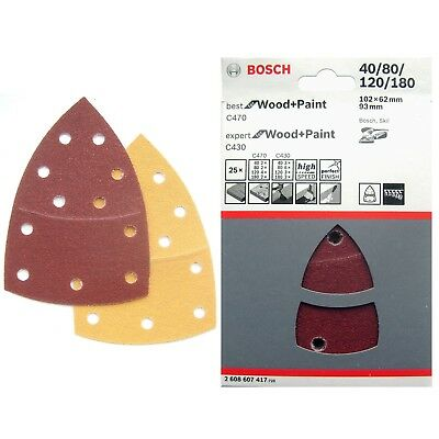 25 Bosch Sanding Sheets PSM 80 100 160 200 18V Primo Prio WOOD+PAINT 2608607417