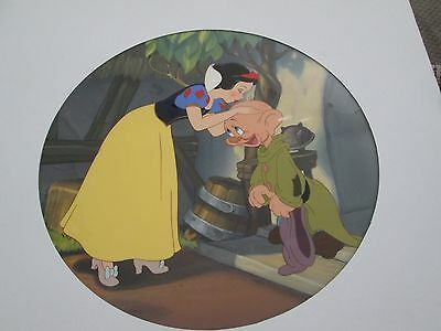 Snow White kissing Dopey Disney cel Painting for Bradford Exchange plate