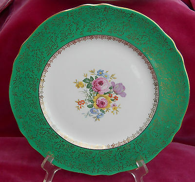 Antique Cabinet Plates Dinner Steubenville 2013 Green Gold Floral 9 Rare
