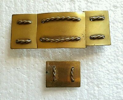 Vtg Antique Brass Belt and Shoe Buckle with Braided Twist Rope Design Military