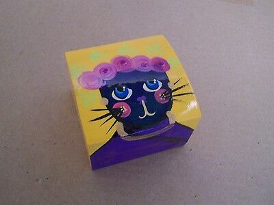 Painted Wood Jewelry Box - Cat with Flowers - Mexico