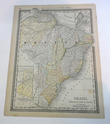 1888 BRAZIL MAP New Family Atlas of the World RAND MCNALLY Paraguay Guayana