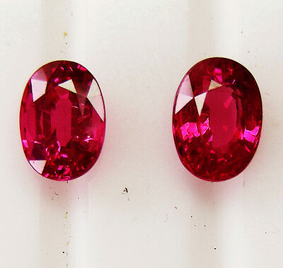 2.70ct!! NATURAL RUBIES PIDGEON BLOOD RED MATCHING PAIR +CERTIFICATE INCLUDED