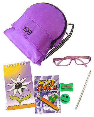 "NEW! 7 PC Purple Backpack & School Supplies Set for 18"" American Girl Dolls"