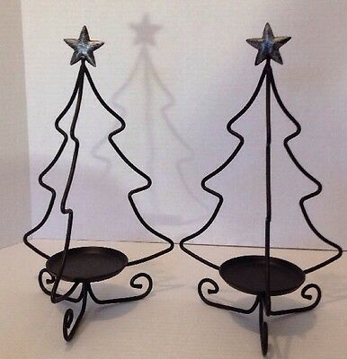 Longaberger Wrought Iron Christmas Tree Candle Holders Pair