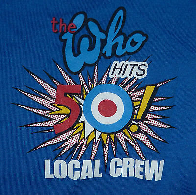 "The Who ""Hits 50 World Tour"" Local Crew TShirt Back Stage Exclusive Rock Concert"