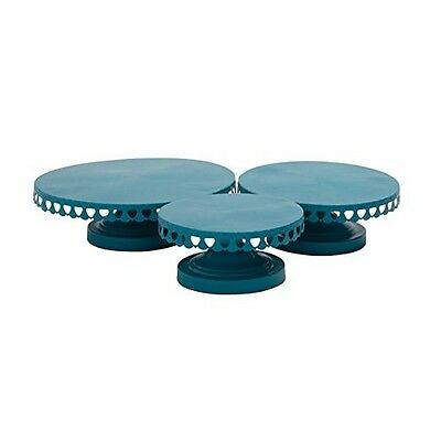 Benzara 29062 3 Piece Cake Stand Set Color: Turquoise NEW