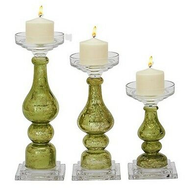 Benzara 39377 Glass Candle Holder Set of 3 NEW
