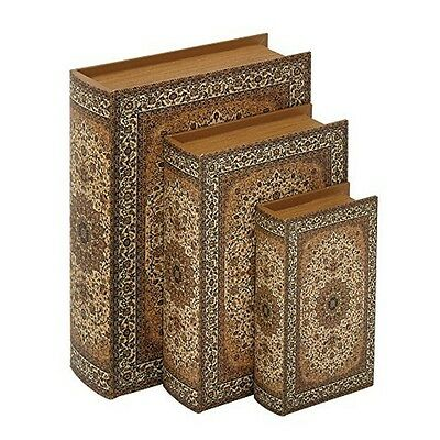 Benzara 56659 Wood Faux Leather Book Box Set of 3 NEW