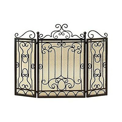 Benzara 90569 Metal Fire Screen for Complete Safety at Fire Place NEW