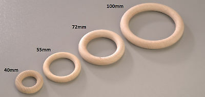 Round Beechwood Wooden O Ring Hoop Decorate Plain Natural 40mm 55mm 72mm 100mm