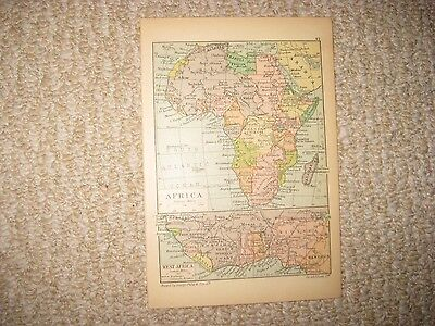 Antique 1880 Central & South & West & Africa Map Superb Detailed Rare Nr