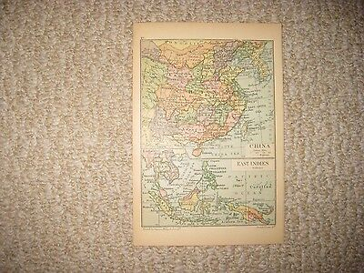 Antique 1880 China East Indies Farther & India Formosa Taiwan Ceylon Map Superb