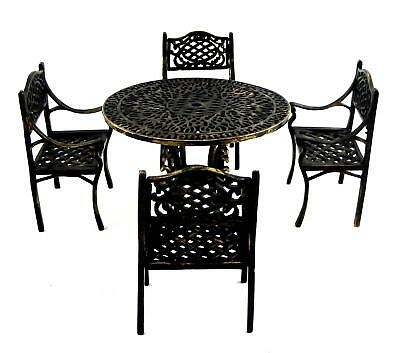 Melody Jane Dolls Houses Wrought Iron Gathering Table & Chairs Garden Furniture