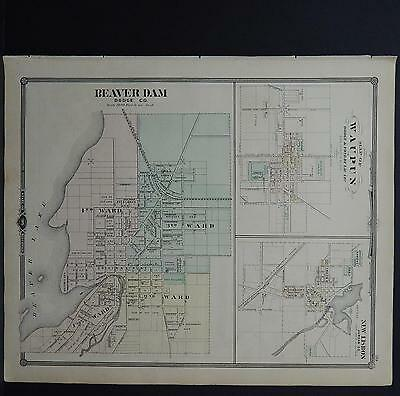 Wisconsin, Antique Map, 1878, Beaver Dam, Waupun, New Lisbon, M9#06