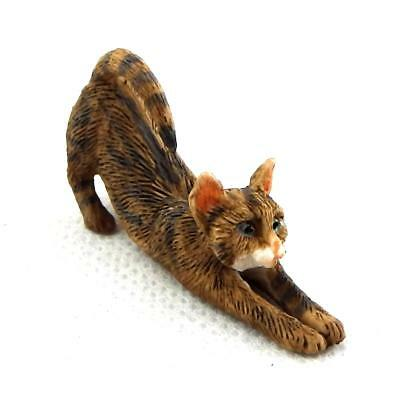 Dolls House Brown Tabby Cat Stretching Falcon Miniature Pet 1:12 Scale Animal