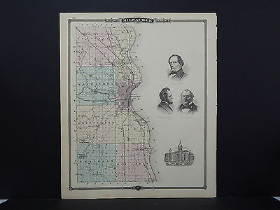 Wisconsin Antique Map 1878, Double Sided Counties of Milwaukee & Walworth M9#41
