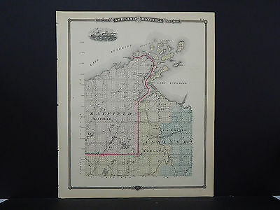 Wisconsin Antique Map, 1878, Counties of Ashland & Bayfield, M9#47