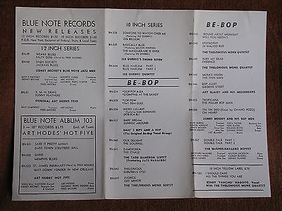 1948 Blue Note Records New Releases Pamphlet-Catalog/Jazz 78 RPM Records*