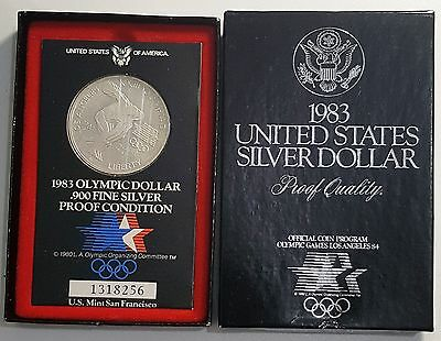 US 1983-S Olympic Games 90% Silver Dollar $1 Proof Original Packaging