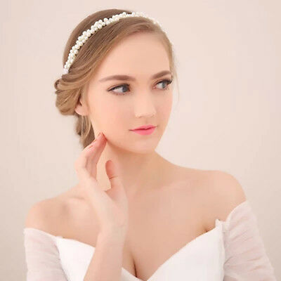 Wedding Bridal Tiara Crystal Beaded Ribbon Rhinestone Headband Hair Band