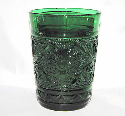 TUMBLER Forest Green SANDWICH Pattern Anchor Hocking Vintage Pressed Glass